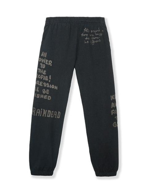 Tonal Type Print Sweatpants - Black