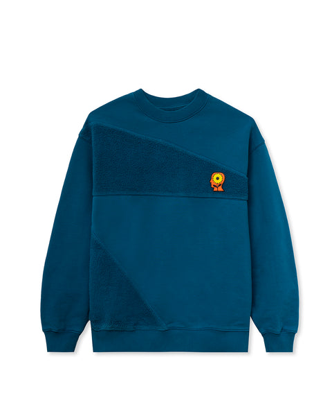 Sunflower Asymmetrical Paneled Crewneck - Blue