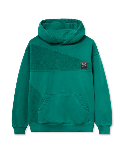 Logo Head Asymmetrical Paneled Hooded Sweatshirt - Teal