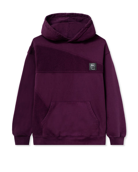 Logo Head Asymmetrical Paneled Hooded Sweatshirt - Burgundy