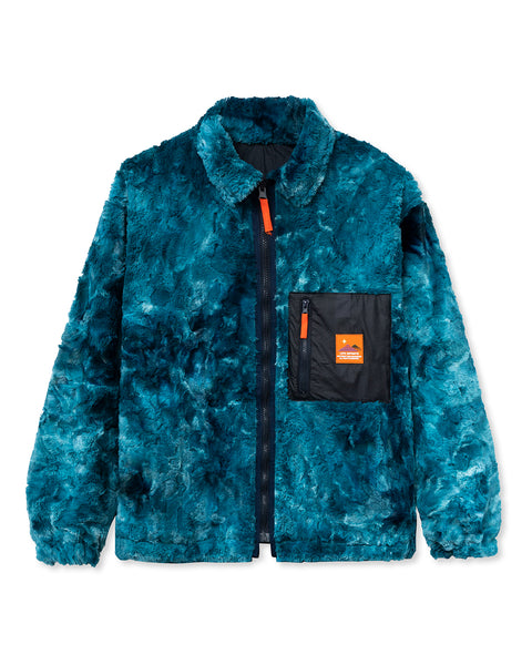 Fully Reversible Zip Front Fur Shirt Jacket - Teal/Navy