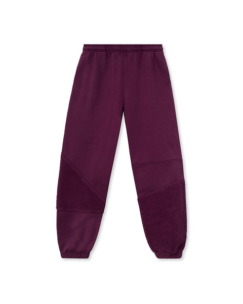 Logo Head Asymmetrical Paneled Sweatpant - Burgundy