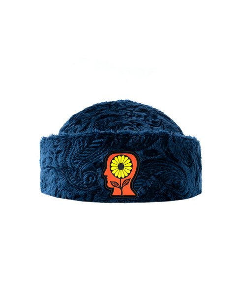 Debossed Paisley Fur Sunflower Beanie - Navy