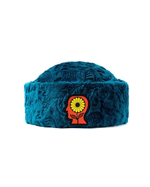 Debossed Paisley Fur Sunflower Beanie - Teal