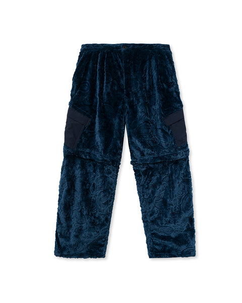 Debossed Paisley Fur Convertible Zip Off Pant - Navy