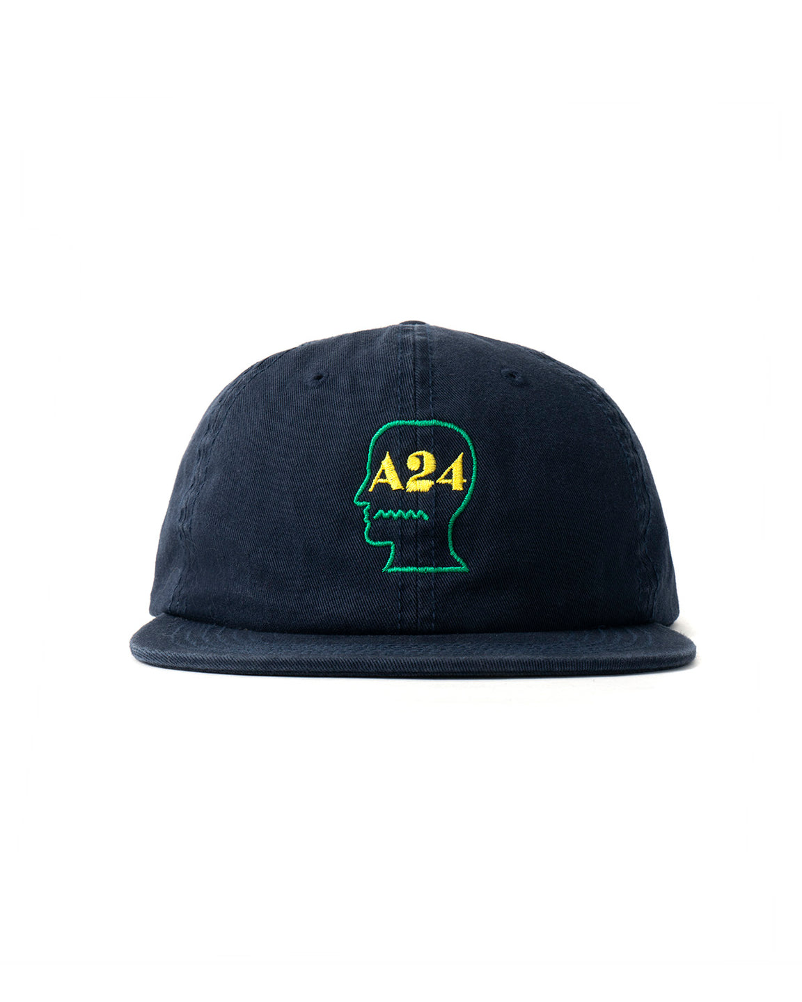 A24 x Brain Dead Logo Head Embroidered 6 Panel Strapback Hat - Navy