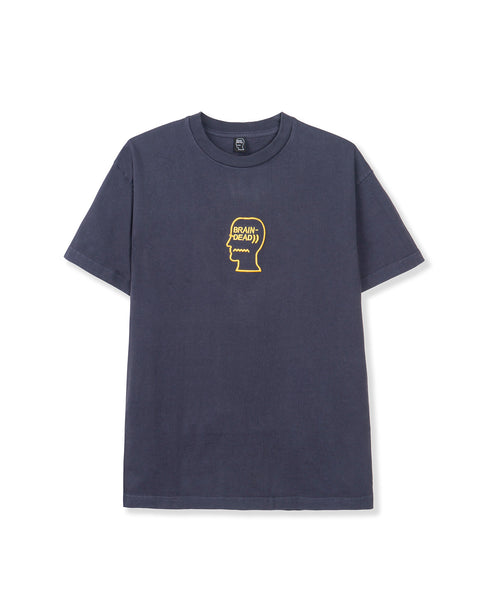 Logo Head Embroidered Heavyweight T-shirt - Slate Blue