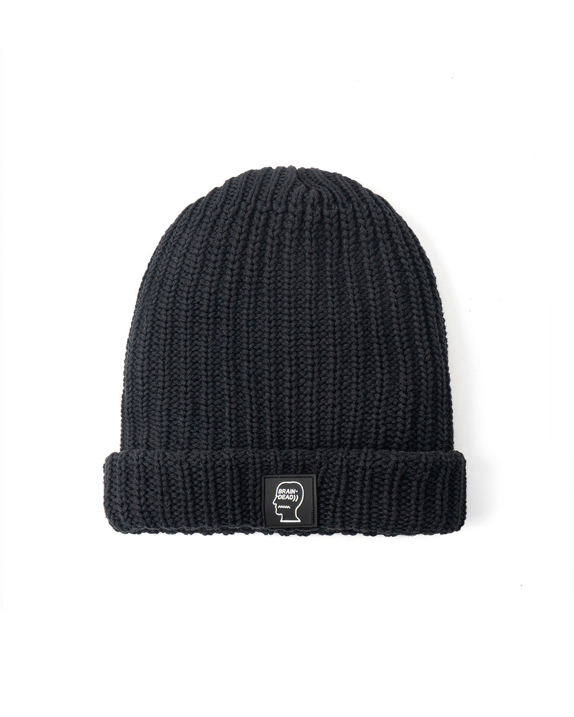 Knitted Logo Patch Beanie - Black