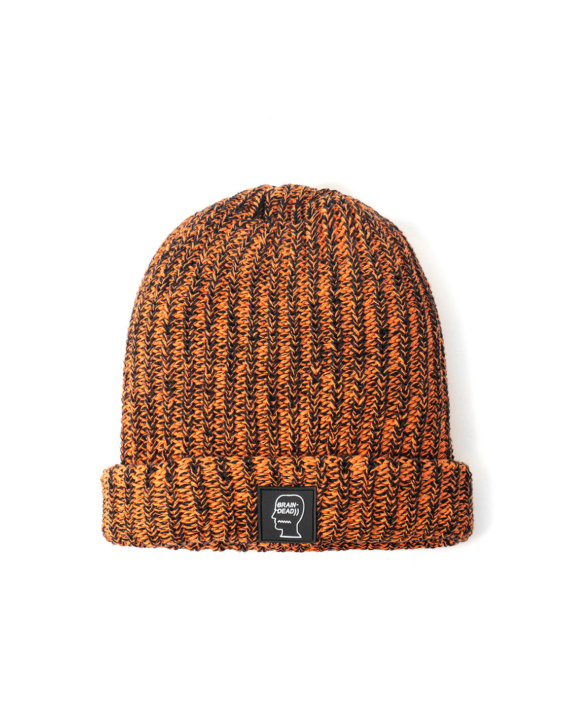 Knitted Logo Patch Beanie - Orange/Black