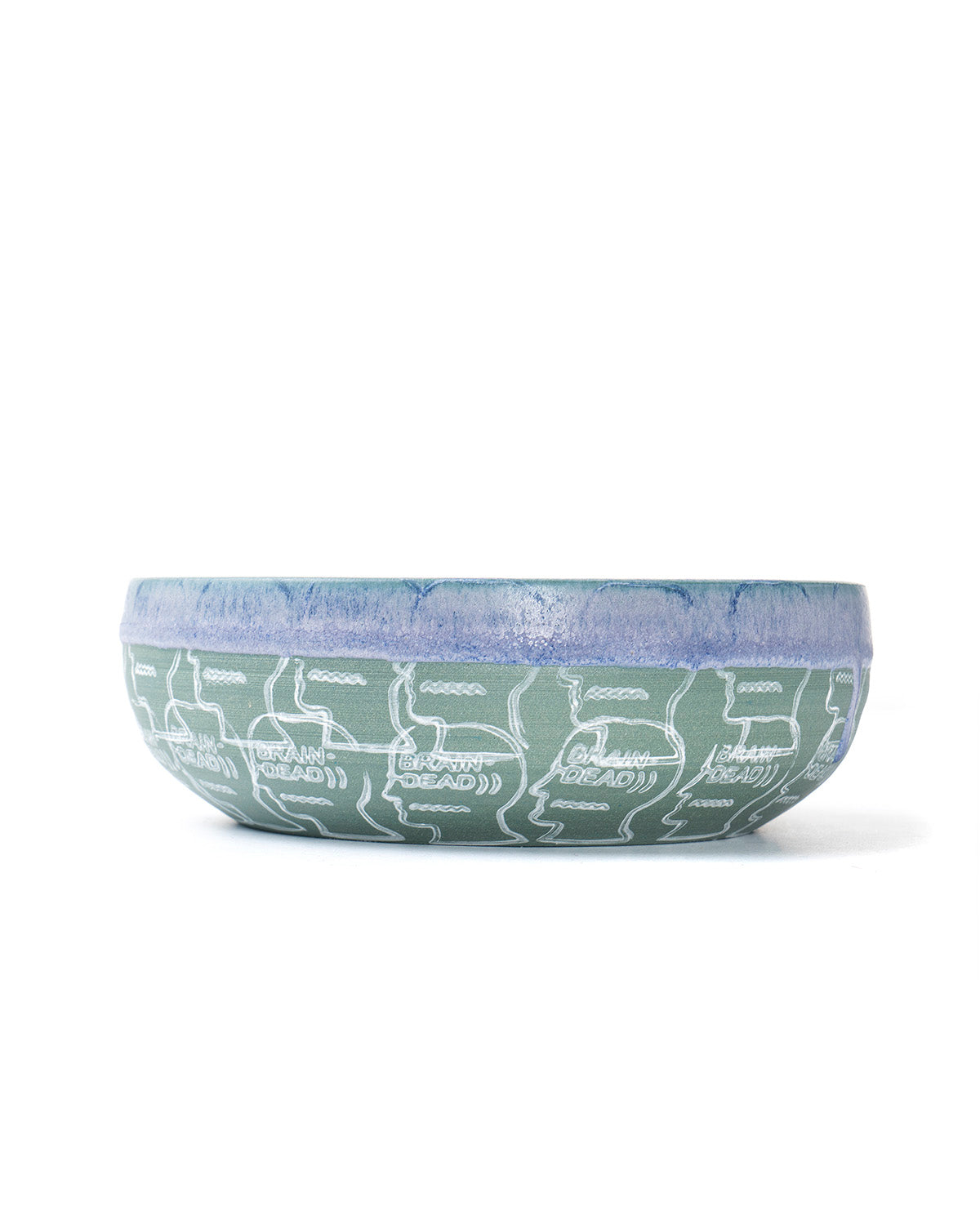 Drip Dipped Logo Head Ekua Ceramic Bowl - Green/Purple