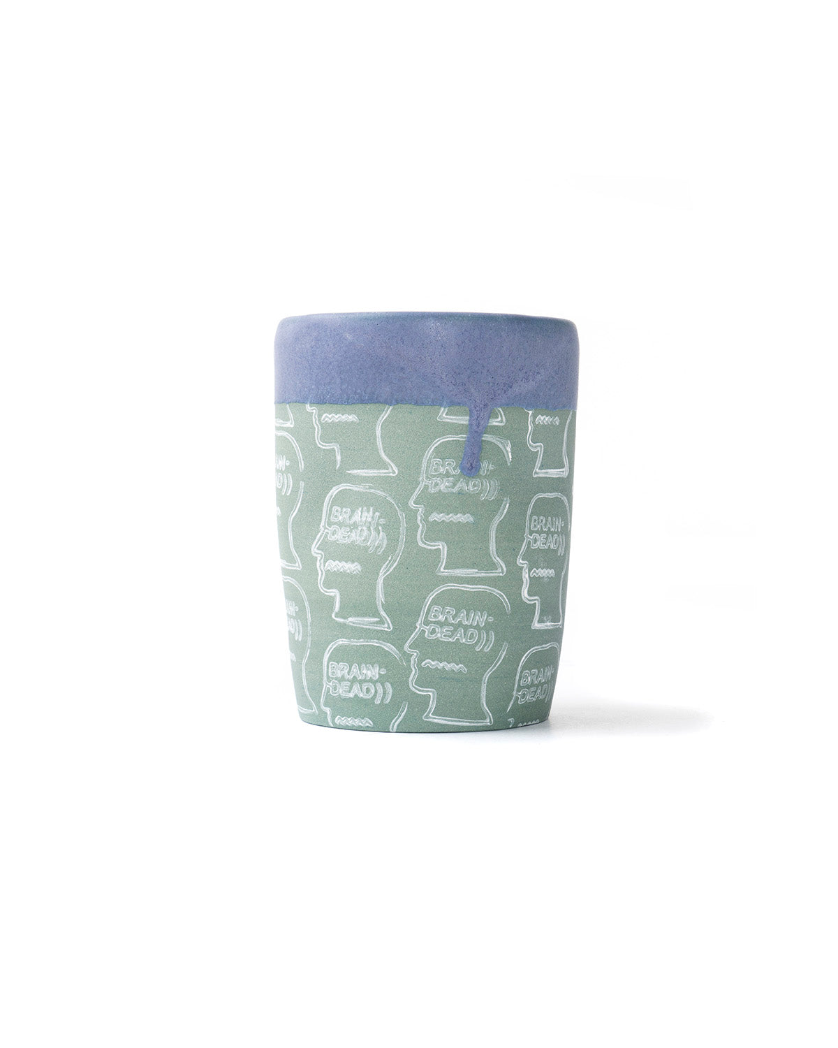 Drip Dipped Logo Head Ekua Ceramic Cup - Green/Purple - Brain Dead