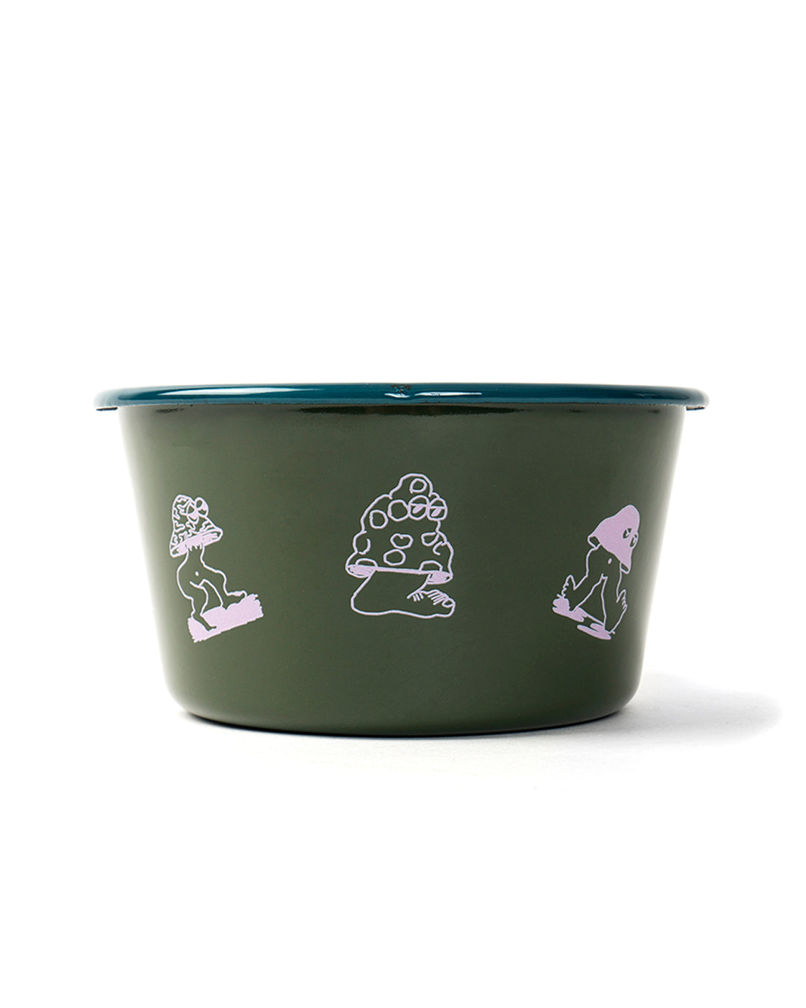 Mushroom Enamel Conical bowl - Forest Green