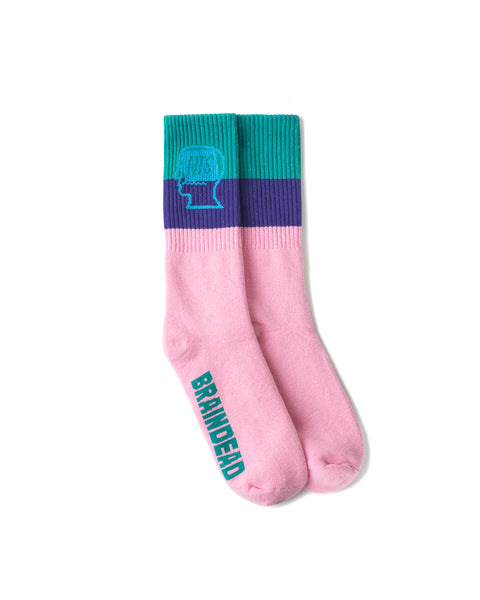 NTS Logo Head Striped Sock - Pink