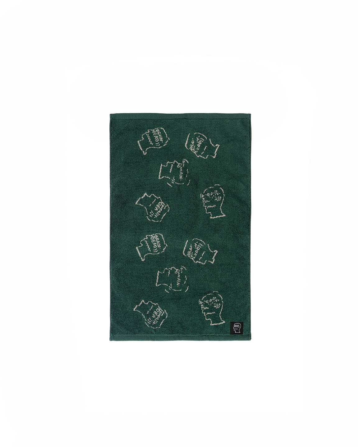 "Cracked Logo Head Hand Towel 16"" X 24""- Forest Green"