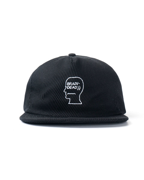 Bias Cut Twill Cord Logo Hat - Black
