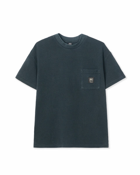 High-density Waffle Knit mid Mock Neck Pocket T-Shirt - Black