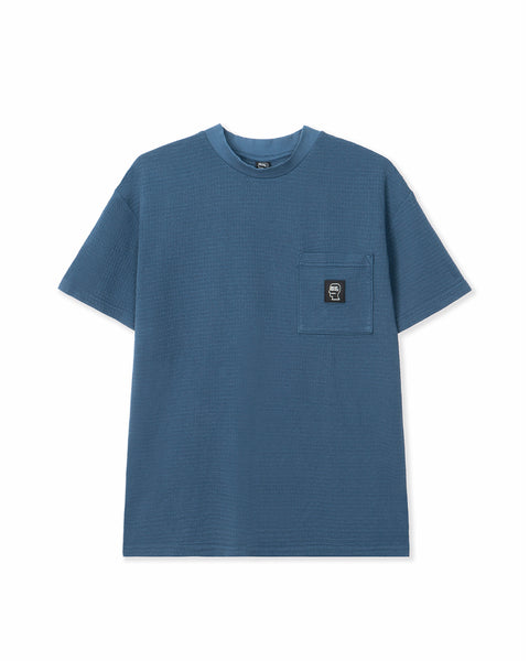 High-density Waffle Knit mid Mock Neck Pocket T-Shirt - Blue
