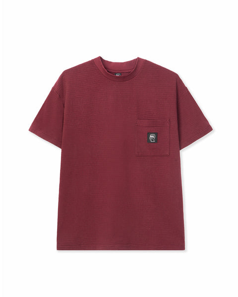 High-density Waffle Knit mid Mock Neck Pocket T-Shirt - Burgundy