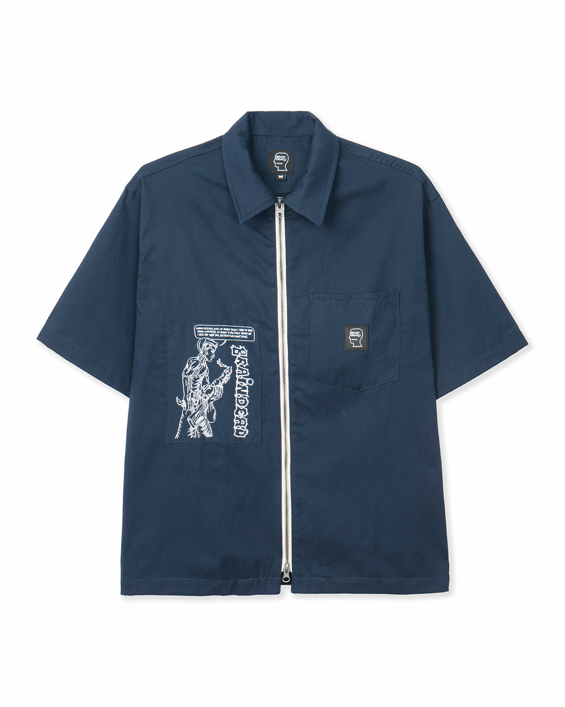 Kogan One Man Army Short Sleeve Zip-Front Shirt - Navy