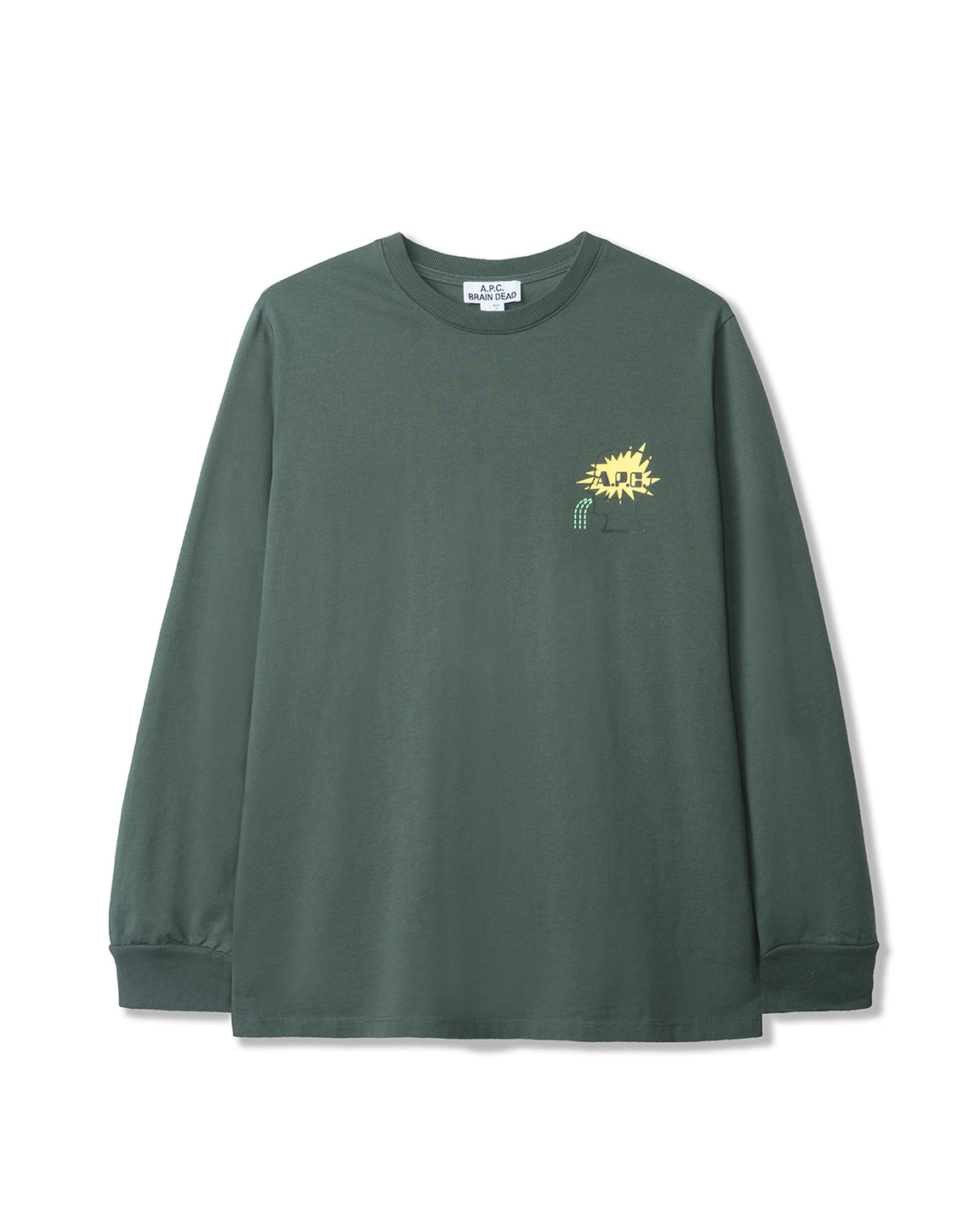 Men's Molly Long Sleeve Jersey T-Shirt A.P.C. x Brain Dead - Grey/Green