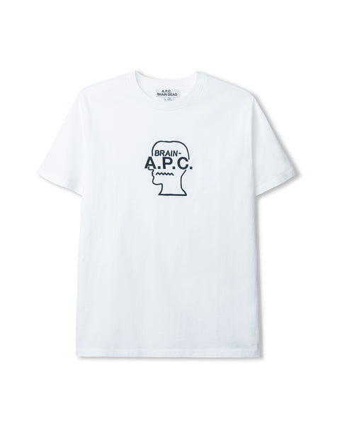 Men's Spooky Short Sleeve Jersey T-Shirt A.P.C. x Brain Dead - White
