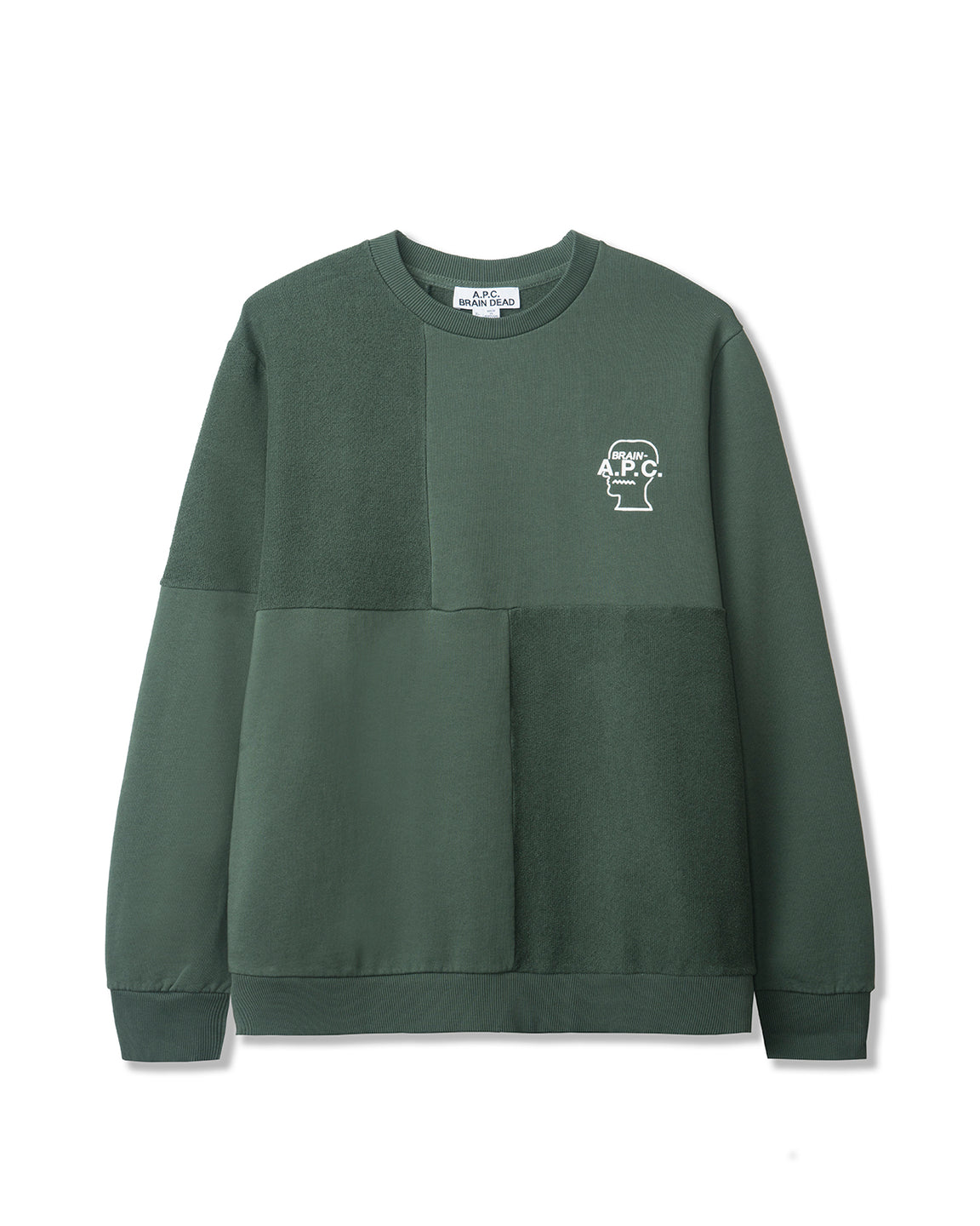 Men's Pony Long Sleeve Paneled Crewneck Sweatshirt A.P.C. x Brain Dead - Green/Grey