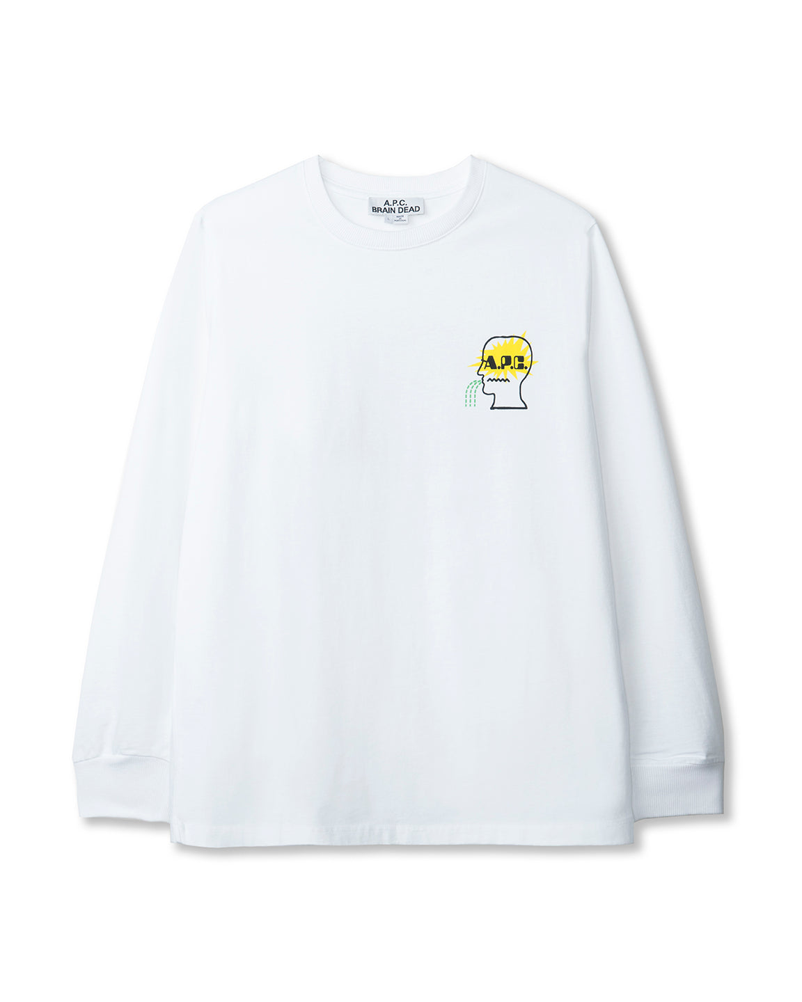 Men's Molly Long Sleeve Jersey T-Shirt A.P.C. x Brain Dead - White