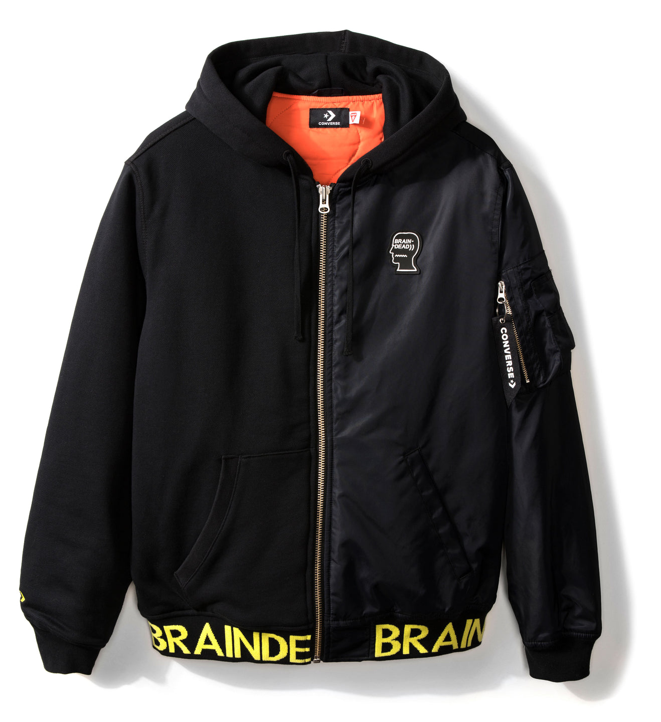 CONVERSE X BRAIN DEAD HOODED BOMBER JACKET BLACK