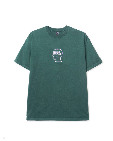 Logo Head Embroidered Heavyweight T-shirt -  Faded Green