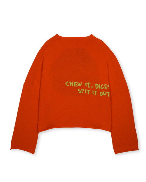 Spit It Oversized Cropped Boxy Sweater - Red