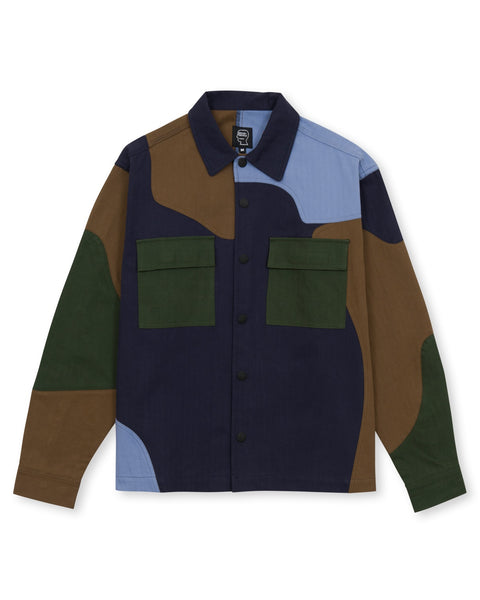 Patchwork Military Field Shirt Jacket - Navy