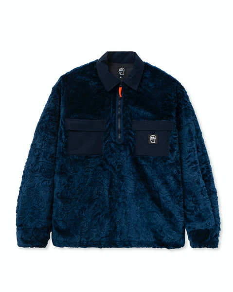 Debossed Paisley Zip Front Fur Half Zip Shirt - Navy
