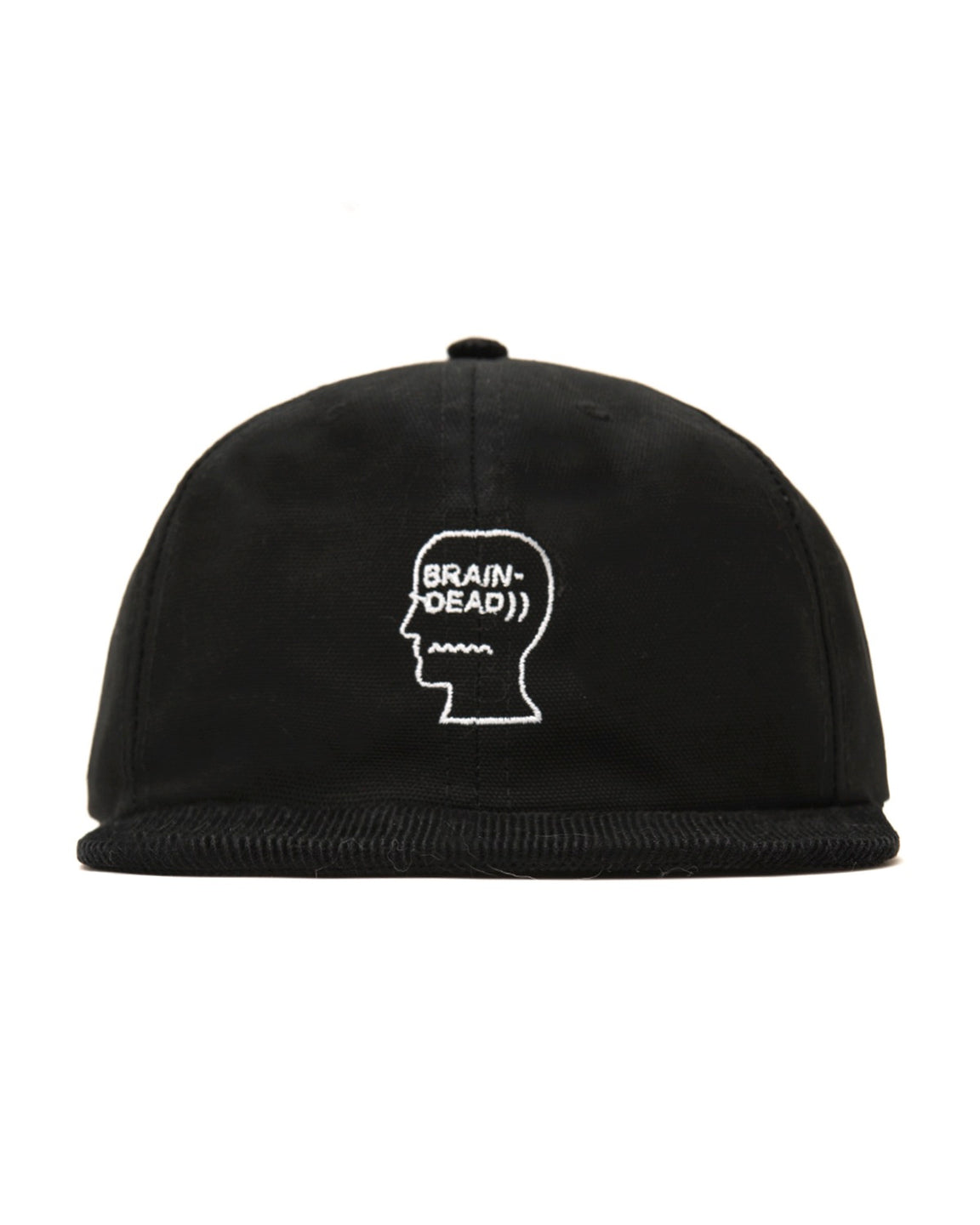 Logo Head Canvas Six Panel Hat with Corduroy Brim - Black