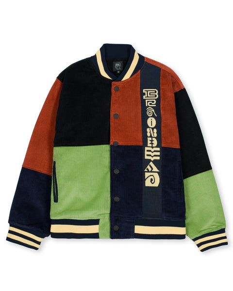 Jacquard Patchwork Letterman Jacket - Multi
