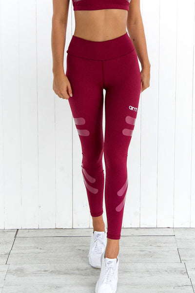 Burgundy Tribe Tights - PURE DASH