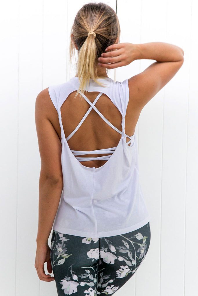 Twist Back Top: White - PURE DASH
