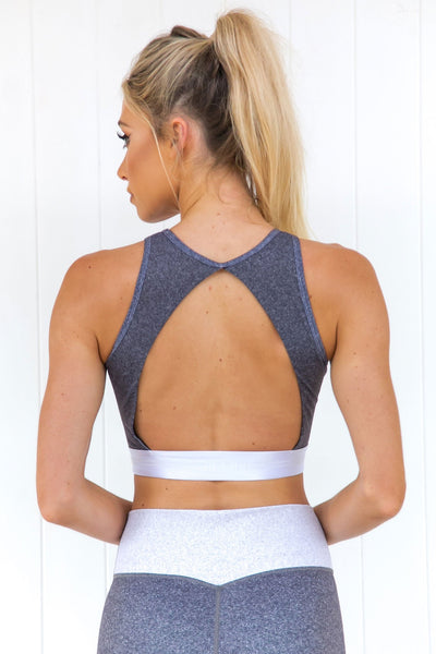 Grey Melange Open Back Crop - PURE DASH