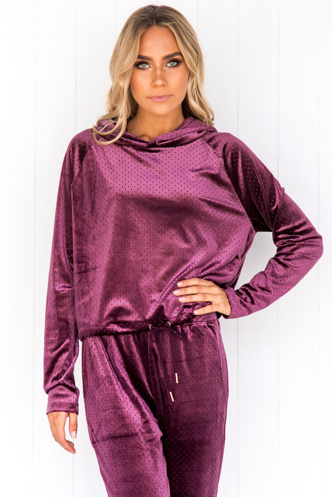 Velour Top - Aubergine