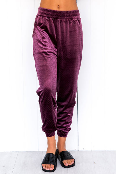 Velour Crop Pants - Aubergine