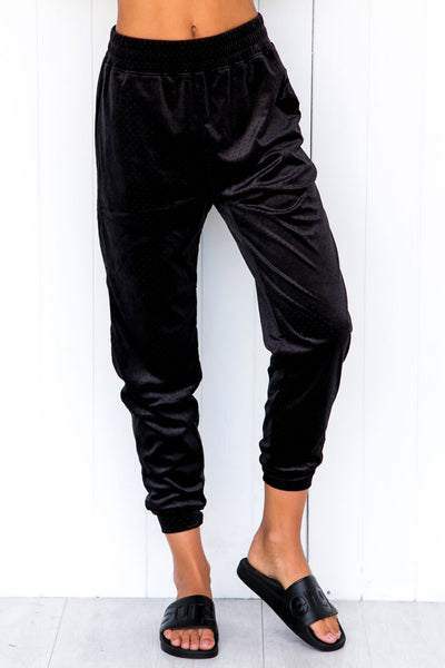 Velour Crop Pants - Black