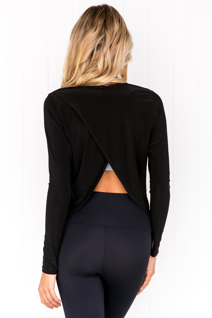Tulip Back Long Sleeve Top - Black