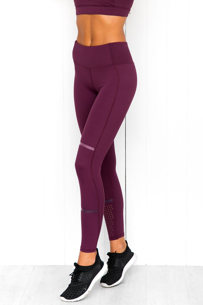 Aspen Plum Red Leggings - PURE DASH