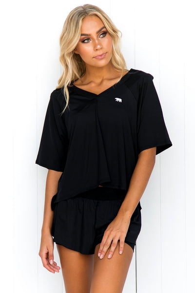 Double Play Crop Tee - Black - PURE DASH