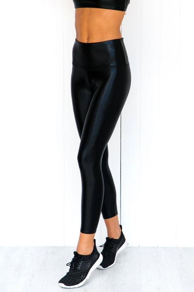 Black Mystique High Rise Leggings - PURE DASH