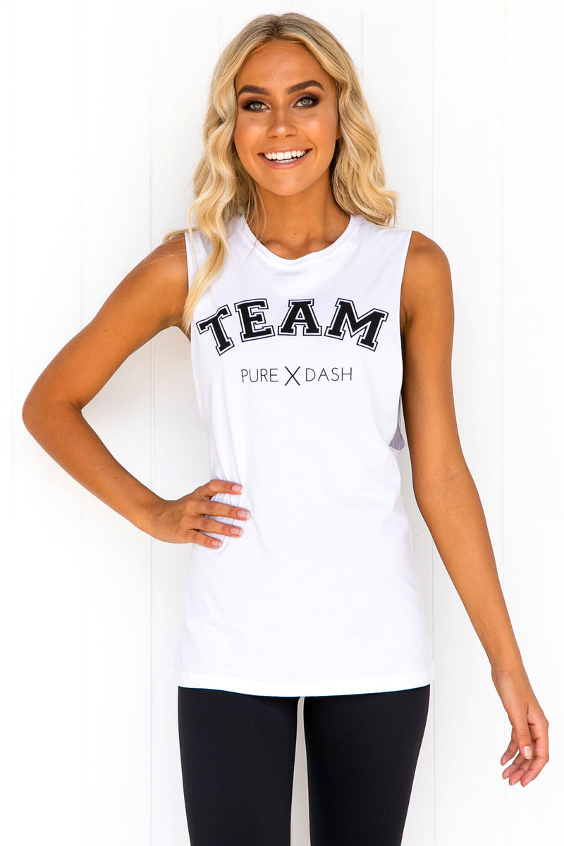 TEAM Pure Dash Tank - White - PURE DASH