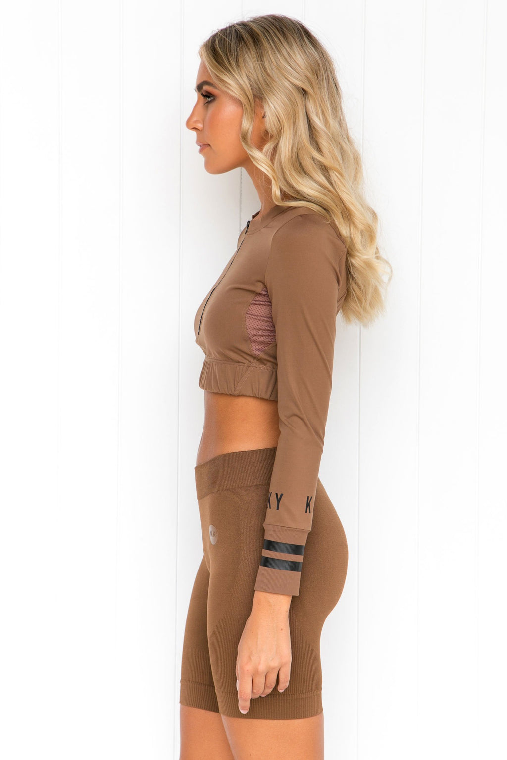 Brown Long Sleeve Zip Crop - PURE DASH