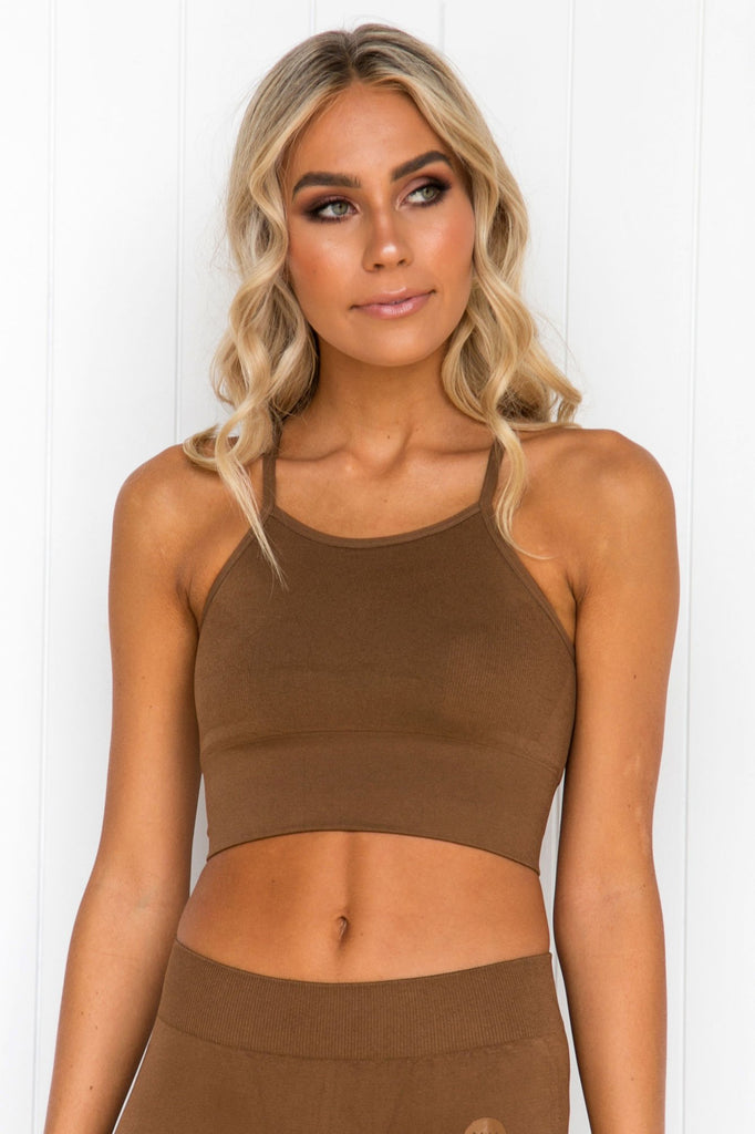 Brown Seamless Crop Top - PURE DASH