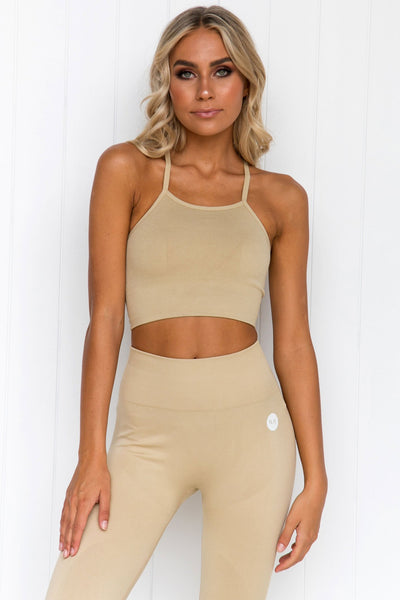 Cream Seamless Crop Top - PURE DASH