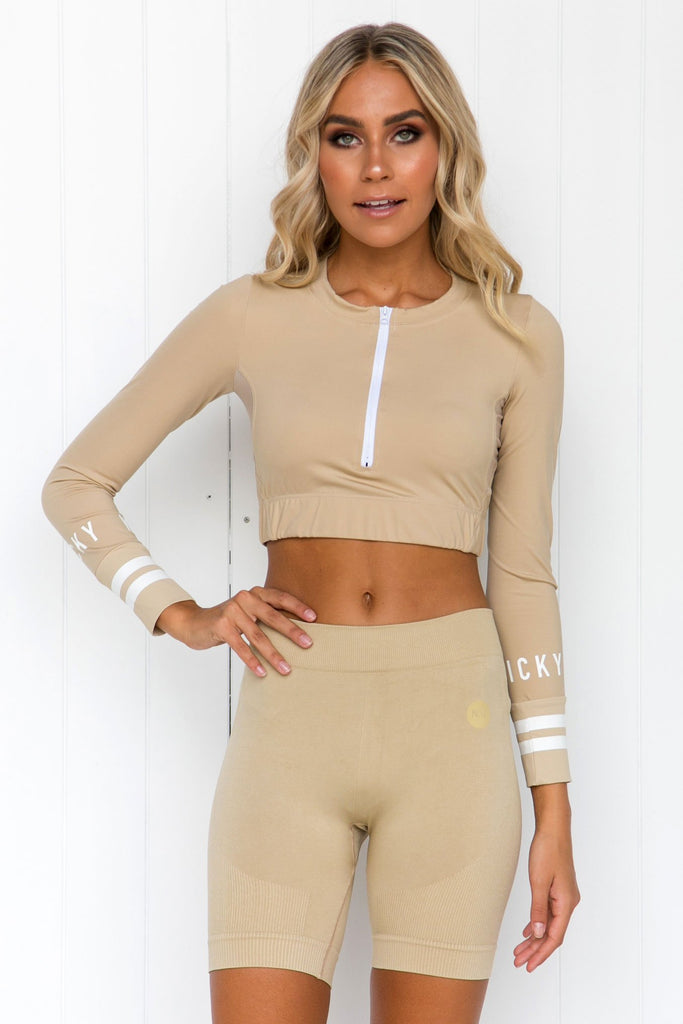 Cream Long Sleeve Zip Crop - PURE DASH