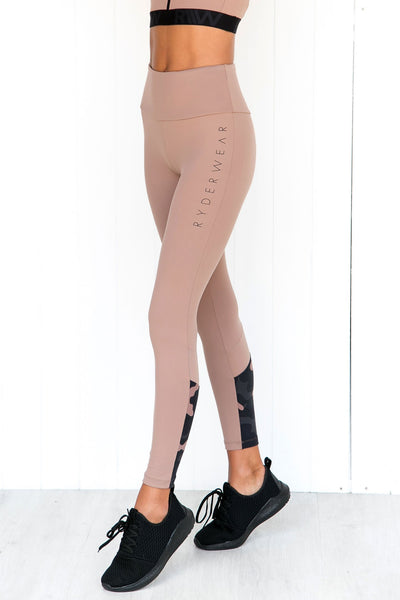 Camo High Waist Leggings - Rose Taupe - PURE DASH